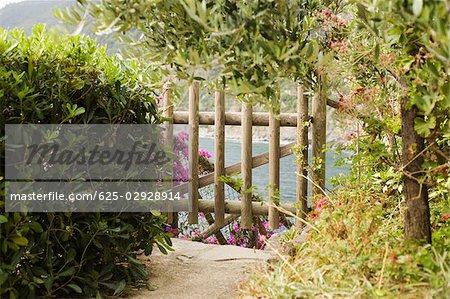 Fence in a garden, Via del'Amore, Cinque Terre National Park, La Spezia, Liguria, Italy