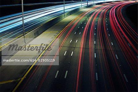 Automobile lights on highway