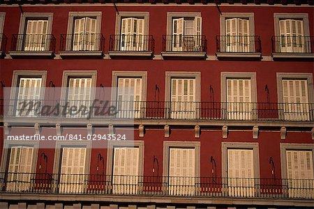 Balcons, Plaza Mayor, Madrid, Espagne, Europe