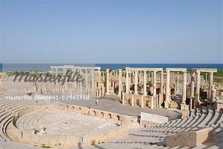 Amphithéâtre, Leptis Magna, UNESCO World Heritage Site, Libye, Afrique du Nord, Afrique