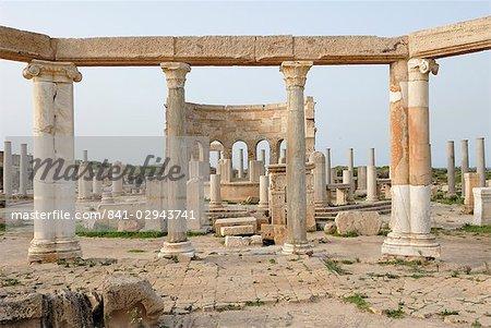 Market, Leptis Magna, UNESCO World Heritage Site, Libya, North Africa, Africa