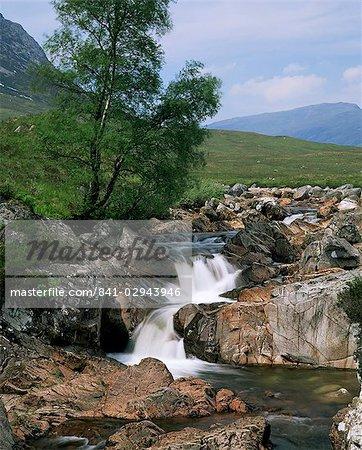 Waterfall, Glen Etive, Highland region, Scotland, United Kingdom, Europe