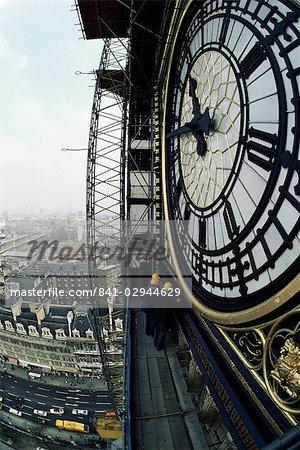 Gros plan sur le cadran de l'horloge de Big Ben, maisons du Parlement, Westminster, Londres, Royaume-Uni, Europe