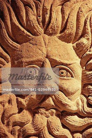 Stone carving, below Pump Room, Bath, Avon (Somerset), England, United Kingdom, Europe