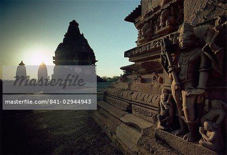 Détail de Siva, Temple de Visvanatha, groupe A, Khajuraho, patrimoine mondial de l'UNESCO, l'état de Madhya Pradesh, Inde, Asie