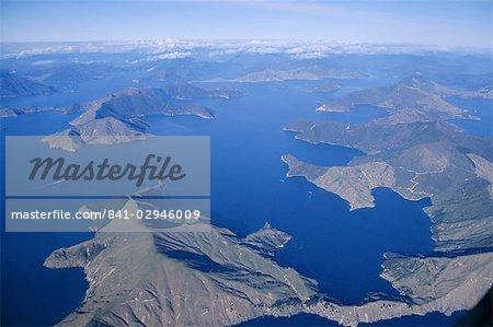 Aerial view, Marlborough Sound, South Island, New Zealand, Pacific