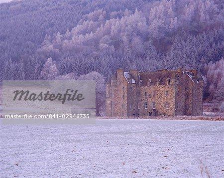 Castle Menzies in winter, Weem, Perthshire, Scotland, United Kingdom, Europe