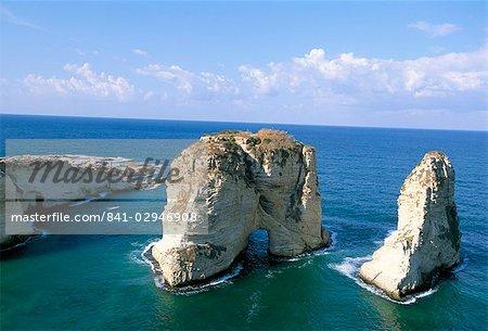 Rock arches, Beirut, Lebanon, Mediterranean Sea, Middle East