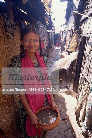 Teenage girl in slum, Dhaka, Bangladesh, Asia