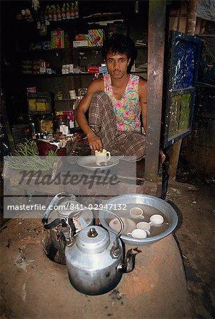 Man running a tea shop in Dhaka, Bangladesh, Asia