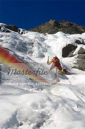 Ice climbing Eklutna Glacier Southcentral AK winter scenic