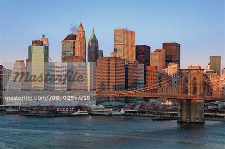 Pont de Brooklyn et de Lower Manhattan, New York, New York, USA