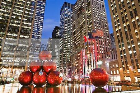 Décorations de Noël, 6e Avenue, Manhattan, New York, New York, USA