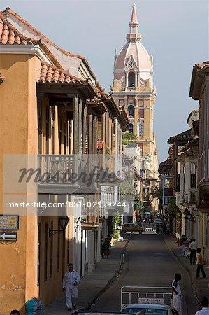 Vue vers la cathédrale, Cartagena, Colombia