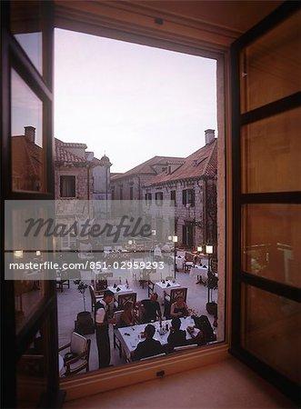 Looking out window to restaurant,Dubrovnik,Croatia.
