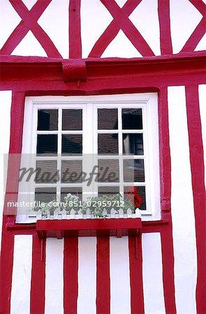 fenêtre en colombage construction, Honfleur Normandie France