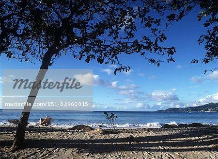 Woman sitting on the beach,Grande Anse Beach,Grenada