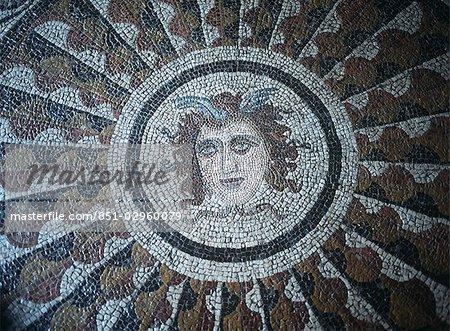 Détail de la mosaïque romaine antique, Rhodes, îles du Dodécanèse, Grèce