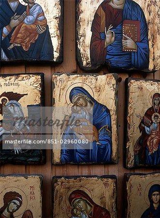 Icônes pour la vente de la Vierge Marie, Rhodes, îles du Dodécanèse, Grèce.
