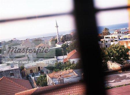 Rooftops seen through windows,Rhodes,Greece