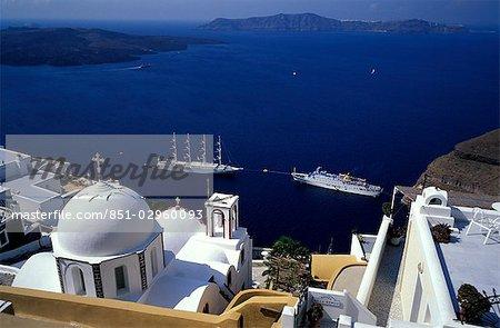 Cruise ships in Santorini,Greece
