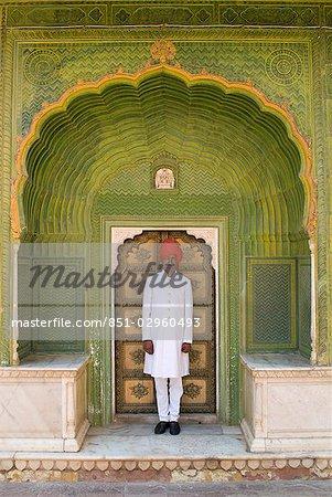 Garde du Palais sur le City Palace, Jaipur, Rajasthan, Inde