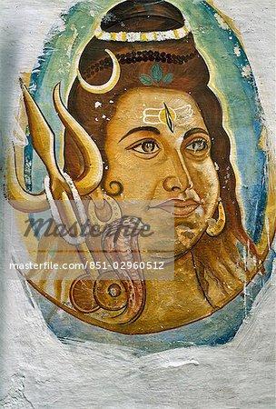 Peinture murale de Shiva, Udaipur, Rajasthan, Inde.