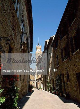Old Street and Clock Tower,Pienza,Tuscany,Italy