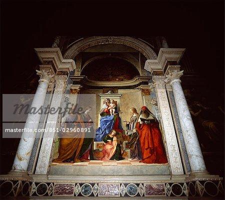 De sensible Madonna et l'enfant., Venise, Italie