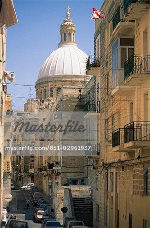 Vue sur l'église des Carmélites, la Valette, Malte