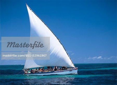 Fishermen at sea in a dhow,Ilha de Mocambique,Mozambique