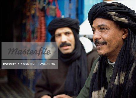 Shopkeepers talking in backstreets,Essaouira,Morroco.