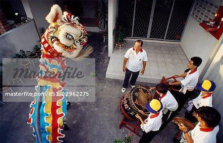 Nouvel an chinois, danse du dragon, Penang, Malaisie