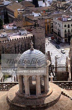 Cathedral minaret from Giralda,Sevilla,Spain
