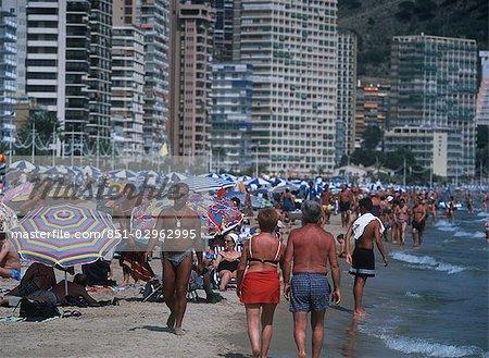 Crowds of people,Benidorm beach,Spain
