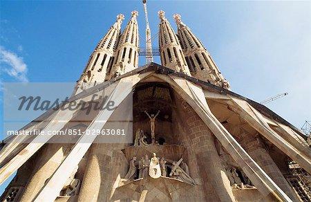 Front entrance,Temple of La Saggrada Familia - Gaudi. Barcelona,Spain.