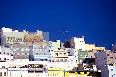 Bâtiments peints Vegueta, Gran Canaria, îles Canaries