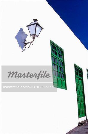 Blanchies à la chaux mur, Teguise, Lanzarote, îles Canaries