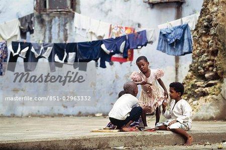Children playing in the back streets,Stone Town,Zanzibar Island. Tanzania