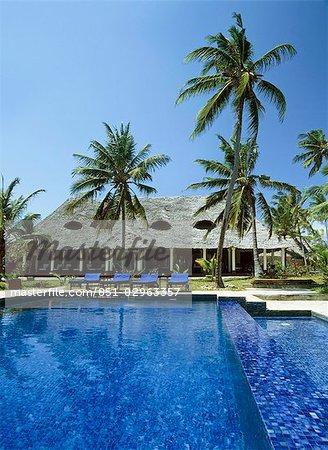 Looking across the swimming pool,Paje,Zanzibar,Tanzania