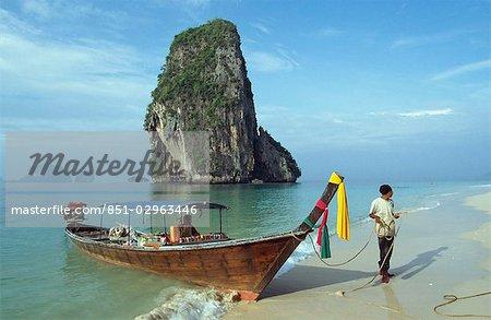 Aliments colporteurs bateau, Krabi, Thaïlande