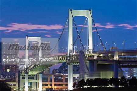 Pont de l'arc-en-ciel, Odaiba, Tokyo, région de Kanto, Honshu, Japon
