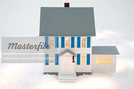 Maison modèle à neige faux