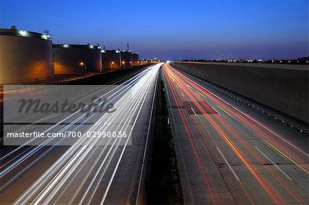 Highway Next to the Oil Refinery in Schwechat, Vienna, Austria