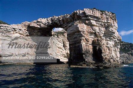 Grottes, Antipaxos, îles grecques, Grèce, Europe
