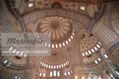 Intérieur de la mosquée bleue (Sultan Camii), Istanbul, Turquie, Europe
