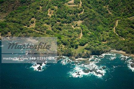North Nicoya Pennisula, Pacific Coast from air, Costa Rica, Central America