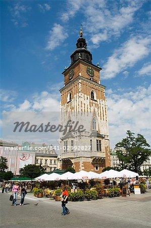 Town Hall Tower (Ratusz), Main Market Square (Rynek Glowny), Old Town District (Stare Miasto), Krakow (Cracow), UNESCO World Heritage Site, Poland, Europe