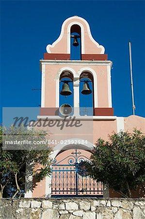 Tour de la cloche d'église, Fiskardo, Kefalonia (Céphalonie), îles Ioniennes, Grèce, Europe