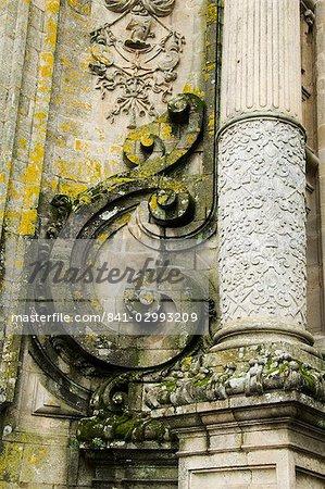 Détails sur le devant de la cathédrale de Santiago de Compostelle, Galice, Espagne, Europe